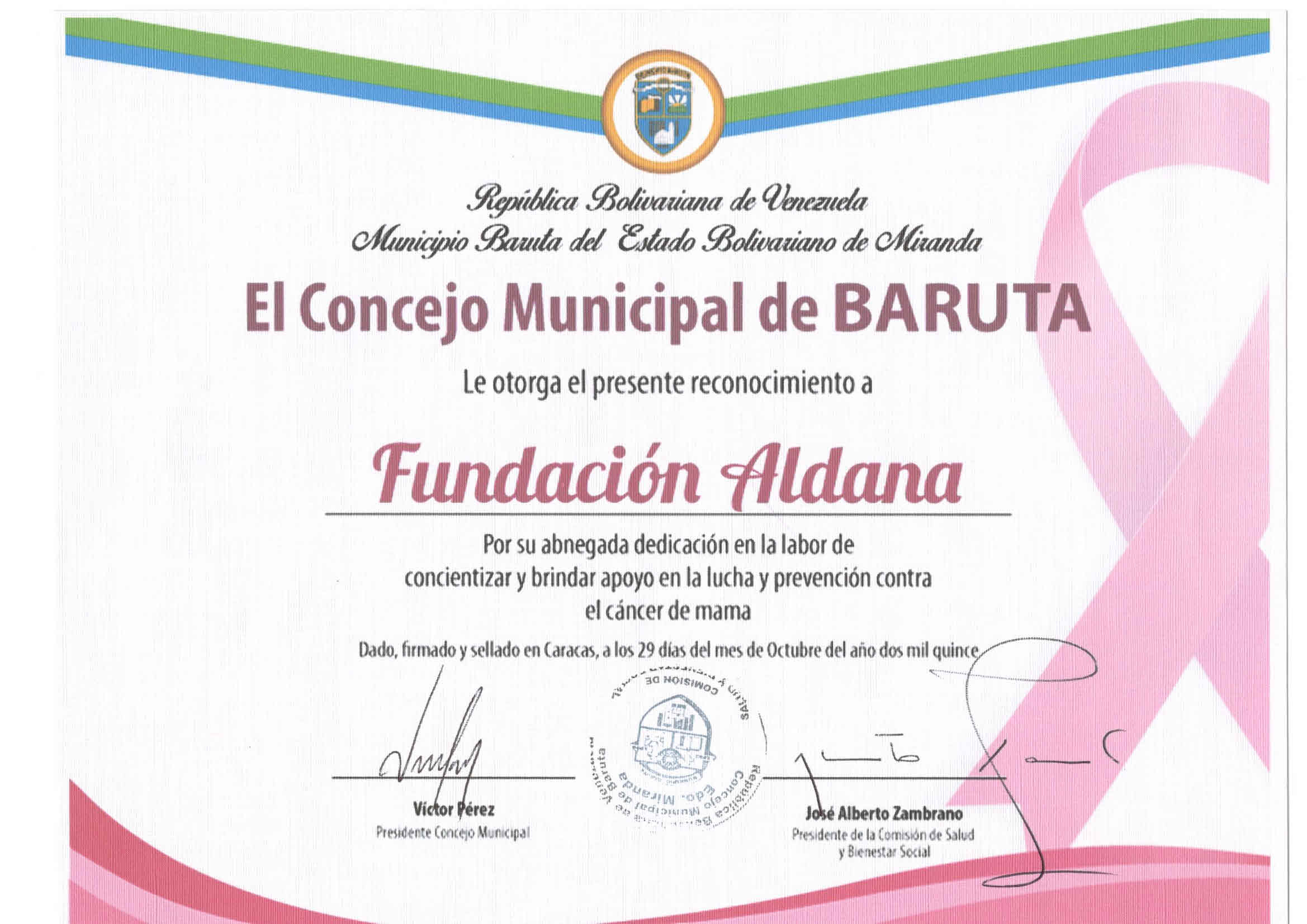 Agradecimientos Fundacion Aldana
